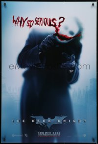 1w682 DARK KNIGHT teaser DS 1sh 2008 cool image of Heath Ledger as the Joker, why so serious?