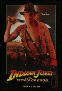 1w764 INDIANA JONES & THE TEMPLE OF DOOM teaser 1sh 1984 art of Harrison Ford, trust him!