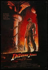1w763 INDIANA JONES & THE TEMPLE OF DOOM 1sh 1984 art of Harrison Ford by Bruce Wolfe, no borders!
