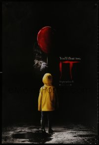 1w771 IT teaser DS 1sh 2017 creepy image of Pennywise handing child balloon, you'll float too!