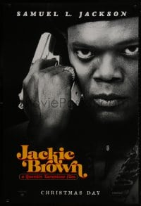1w774 JACKIE BROWN teaser 1sh 1997 Quentin Tarantino, cool image of Samuel L. Jackson with gun!
