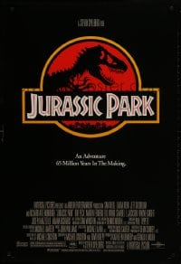 1w777 JURASSIC PARK DS 1sh 1993 Steven Spielberg, classic logo with T-Rex over red background