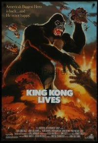 1w785 KING KONG LIVES 1sh 1986 great artwork of huge unhappy ape attacked by army!
