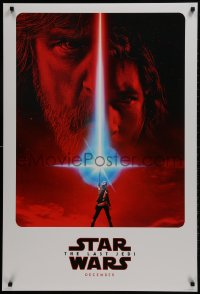 1w792 LAST JEDI teaser DS 1sh 2017 Star Wars, incredible sci-fi image of Hamill, Driver & Ridley!