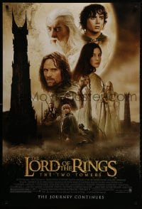 1w800 LORD OF THE RINGS: THE TWO TOWERS DS 1sh 2002 Peter Jackson epic, montage of cast!