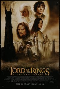 1w801 LORD OF THE RINGS: THE TWO TOWERS int'l DS 1sh 2002 Jackson & J.R.R. Tolkien, cast montage!