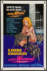 1y014 1000 CONVICTS & A WOMAN 1sh 1971 sexy blonde nympho Alexandra Hay would take any man!