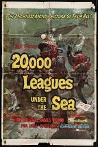 1y016 20,000 LEAGUES UNDER THE SEA style A 1sh 1955 Jules Verne classic, great scenes from the movie!