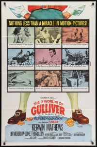 1y006 3 WORLDS OF GULLIVER 1sh 1960 Ray Harryhausen fantasy classic, art of giant Kerwin Mathews!