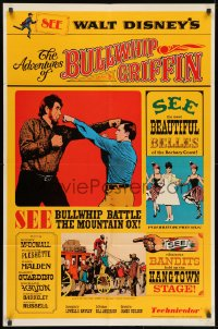 1y021 ADVENTURES OF BULLWHIP GRIFFIN style A 1sh 1966 Disney, beautiful belles, mountain ox battle!