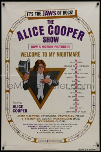 1y030 ALICE COOPER: WELCOME TO MY NIGHTMARE 1sh 1975 JAWS of rock, art of Alice Cooper by Struzan!