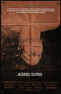 1y035 ALTERED STATES foil 25x39 1sh 1980 William Hurt, Paddy Chayefsky, Ken Russell, sci-fi!