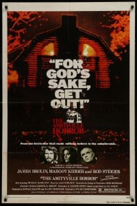 1y039 AMITYVILLE HORROR 1sh 1979 great image of haunted house, for God's sake get out!