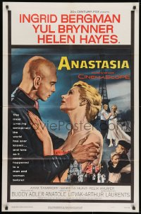 1y041 ANASTASIA 1sh 1956 great romantic art of Ingrid Bergman & Yul Brynner!