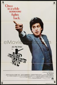 1y042 AND JUSTICE FOR ALL int'l 1sh 1979 directed by Norman Jewison, Al Pacino is out of order!
