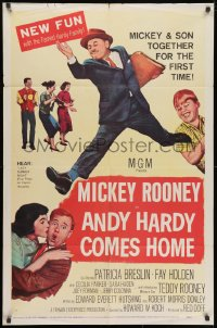 1y044 ANDY HARDY COMES HOME 1sh 1958 Mickey Rooney & his son Teddy together for the first time!