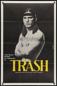 1y046 ANDY WARHOL'S TRASH 1sh 1970 close up of barechested Joe Dallessandro, Andy Warhol classic!