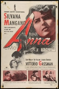 1y048 ANNA 1sh 1953 art of Silvana Mangano, a prostitute/singer turned nun & nurse!