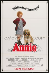1y049 ANNIE advance 1sh 1982 Harold Gray, cute Aileen Quinn with Finney, Burnette and top cast!
