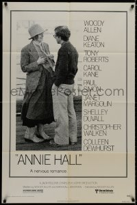 1y050 ANNIE HALL 1sh 1977 full-length Woody Allen & Diane Keaton in a nervous romance!