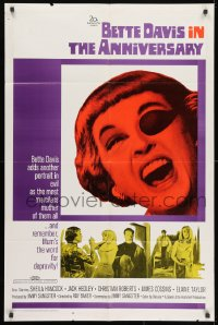 1y051 ANNIVERSARY 1sh 1967 Bette Davis with funky eyepatch in English horror!