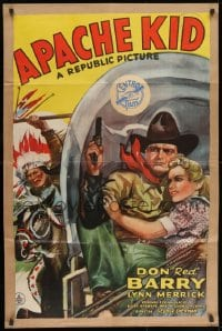 1y052 APACHE KID 1sh 1941 art of Don Red Barry & Lynn Merrick on stagecoach chased by Indian!