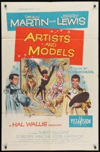 1y056 ARTISTS & MODELS 1sh 1955 Dean Martin & Jerry Lewis, sexy Shirley MacLaine, great art!