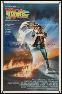 1y066 BACK TO THE FUTURE studio style 1sh 1985 art of Michael J. Fox & Delorean by Drew Struzan!