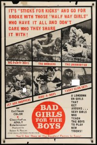 1y067 BAD GIRLS FOR THE BOYS 1sh 1966 sticks for kicks, lowdown on girls that get around, swappers!