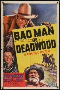 1y068 BAD MAN OF DEADWOOD 1sh 1941 art of Roy Rogers with gun drawn, Gabby Hayes, Carol Adams!