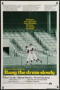 1y070 BANG THE DRUM SLOWLY 1sh 1973 Robert De Niro, image of New York Yankees baseball stadium!