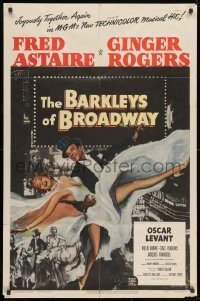 1y072 BARKLEYS OF BROADWAY 1sh 1949 art of Fred Astaire & Ginger Rogers dancing in New York!