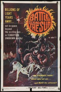 1y074 BATTLE BEYOND THE SUN 1sh 1962 Nebo Zovyot, Russian sci-fi, terrifying unknown worlds!