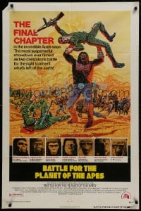 1y075 BATTLE FOR THE PLANET OF THE APES 1sh 1973 great sci-fi artwork of war between apes & humans!