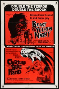 1y077 BEAST OF THE YELLOW NIGHT/CREATURE WITH BLUE HAND 1sh 1971 wild horror double-bill!