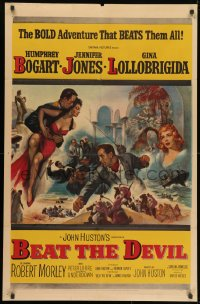 1y078 BEAT THE DEVIL 1sh 1953 art of Humphrey Bogart with sexy Gina Lollobrigida & Jennifer Jones!