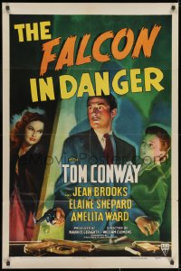 1y004 FALCON IN DANGER . 1sh 1943 art of detective Tom Conway between Jean Brooks & Elaine Shepard!