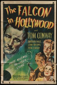 1y005 FALCON IN HOLLYWOOD . 1sh 1944 detective Tom Conway, where next will the killer strike!