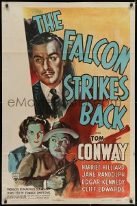 1y002 FALCON STRIKES BACK 1sh 1943 murder menaces every move as Tom Conway stalks a silent killer!