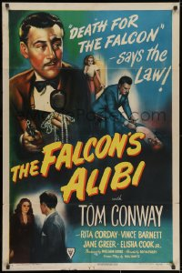 1y001 FALCON'S ALIBI . 1sh 1946 the law says death for detective Tom Conway, cool montage art!