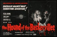 1z018 HOUND OF THE BASKERVILLES 2pg English trade ad 1959 Peter Cushing, great blood-dripping dog art!