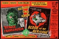 1z019 I WAS A TEENAGE FRANKENSTEIN/BLOOD OF DRACULA 2pg English trade ad 1958 AIP horror double-bill!