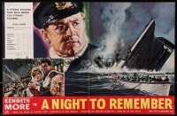 1z023 NIGHT TO REMEMBER 2pg English trade ad 1958 Titanic biography, different art of Kenneth More!