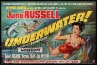 1z037 UNDERWATER 2pg English trade ad 1955 Howard Hughes, art of sexy Jane Russell swimming by shark!
