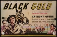 1z004 BLACK GOLD 4pg English trade ad 1948 Anthony Quinn, great horse racing art on both sides!