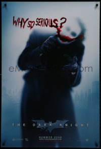 2b662 DARK KNIGHT teaser DS 1sh 2008 cool image of Heath Ledger as the Joker, why so serious?