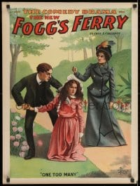 2b307 FOGG'S FERRY 21x28 stage poster 1893 art of man & woman fighting over kneeling girl!