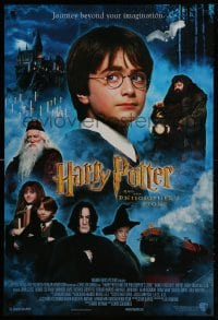 2g391 HARRY POTTER & THE PHILOSOPHER'S STONE int'l DS 1sh 2001 Sorcerer's Stone, top cast!