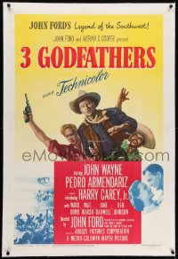 2h022 3 GODFATHERS linen 1sh 1949 cowboy John Wayne in John Ford's Legend of the Southwest!