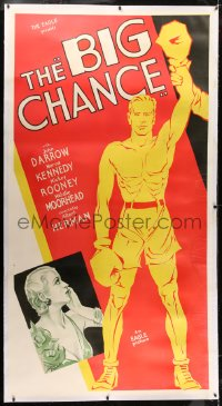 2h006 BIG CHANCE linen 3sh 1933 great Hap Hadley art of boxer John Darrow & Kennedy, ultra rare!
